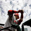 Cincinnati Reds' Orlando Cabrera stands on the top of the dugout steps as he prepares to bat during the second inning of a baseball game against the St. Louis Cardinals on Sunday, May 2, 2010, in St. Louis. Cabrera struck out swinging and the Cardinals went on to win 6-0. (AP Photo/Jeff Roberson)