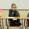 Broomfield Heights Middle Schoolers Miranda Hoffman, left, Ashley Fleming and Cortney Blanton wait to hear a question during the geography bee  on Tuesday.<br /> December 8, 2009<br /> Staff photo/David R. Jennings