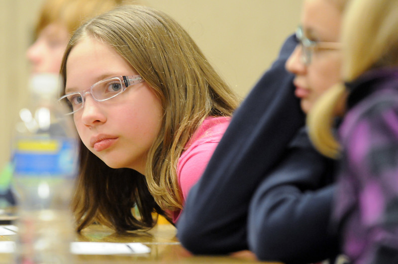 Miranda Hoffman listens to a question during Broomfield Heights Middle School geography bee  on Tuesday.<br /> December 8, 2009<br /> Staff photo/David R. Jennings