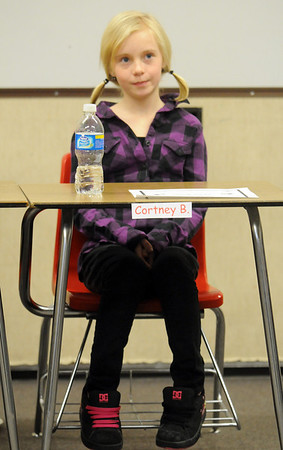 Cortney Blanton listens to a question during Broomfield Heights Middle School geography bee  on Tuesday.<br /> December 8, 2009<br /> Staff photo/David R. Jennings