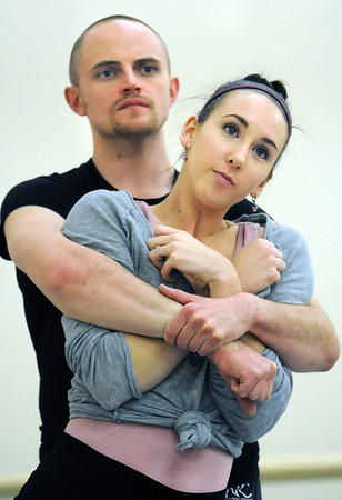 """Dancers Meredith Strathmeyer and David Barbour rehearse their performance for """"Beautiful Winter"""" choreographed by company member Sarah Tallman for Ballet Nouveau Colorado's production of Love.<br /> <br /> <br /> January 27, 2010<br /> Staff photo/David R. Jennings"""