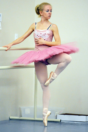 Sarah Tallman prepares to perform her solo dance in the Sugar Plum Fairy dance during rehearsal for Ballet Nouveau Colorado's production of The Nutcracker at BNC on Wednesday.<br /> December 2, 2009<br /> Staff photo/David R. Jennings