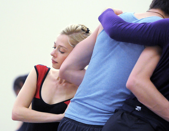 "Julie King, left, moves with Corbin Kalinowski during rehearsal of Ballet Nouveau Colorado's Love in the Digital Age on Saturday.<br /> For more photos please see  <a href=""http://www.broomfieldenterprise.com"">http://www.broomfieldenterprise.com</a><br /> January 21, 2012<br /> staff photo/ David R. Jennings"