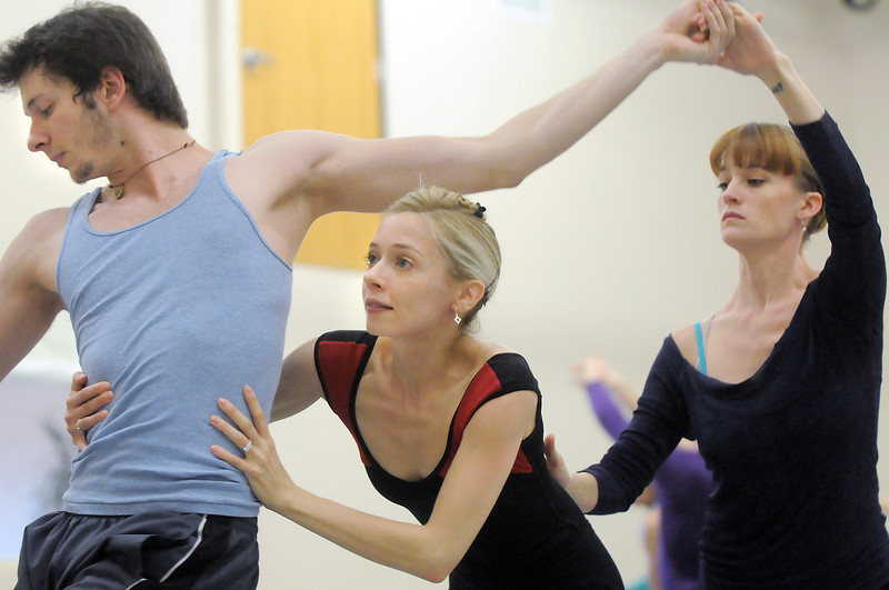 "Corbin Kalinowski, left, Julie King and Julia Meng perform together for a dance during rehearsal of Ballet Nouveau Colorado's Love in the Digital Age on Saturday.<br /> For more photos please see  <a href=""http://www.broomfieldenterprise.com"">http://www.broomfieldenterprise.com</a><br /> January 21, 2012<br /> staff photo/ David R. Jennings"