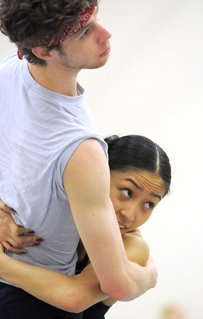 "Colby Foss and Marian Faustino dance together during rehearsal of Ballet Nouveau Colorado's Love in the Digital Age on Saturday.<br /> For more photos please see  <a href=""http://www.broomfieldenterprise.com"">http://www.broomfieldenterprise.com</a><br /> January 21, 2012<br /> staff photo/ David R. Jennings"