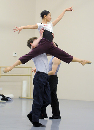 "Marian Faustino is lifted into the air by Colby Foss during rehearsal of Ballet Nouveau Colorado's Love in the Digital Age on Saturday.<br /> For more photos please see  <a href=""http://www.broomfieldenterprise.com"">http://www.broomfieldenterprise.com</a><br /> January 21, 2012<br /> staff photo/ David R. Jennings"
