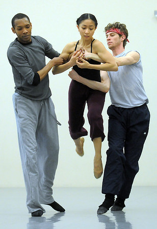 "Marian Faustino, center, is lifted by Damien Patterson, left,  and Colby Foss during rehearsal of Ballet Nouveau Colorado's Love in the Digital Age on Saturday.<br /> For more photos please see  <a href=""http://www.broomfieldenterprise.com"">http://www.broomfieldenterprise.com</a><br /> January 21, 2012<br /> staff photo/ David R. Jennings"