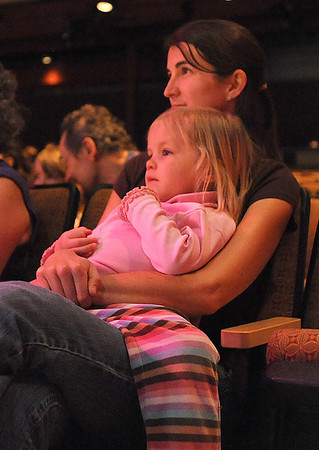 Callie Ward, 3, and her mother, Jamilyn, watch BNC company dancers perform during Ballet Nouveau Colorado's young person's guide to dance at the Auditorium on Satuday.<br /> March 24, 2012 <br /> staff photo/ David R. Jennings