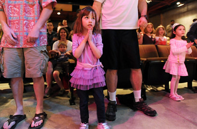 Ellie Stillman, 3, watches Ballet Nouveau Colorado's company dancer perform during BNC's young person's guide to dance at the Auditorium on Satuday. March 24, 2012  staff photo/ David R. Jennings