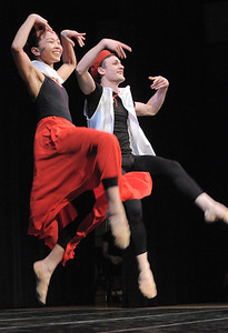 Dancers Marian Faustino and Ben Delony demonstrate a Basque dance during Ballet Nouveau Colorado's young person's guide to dance at the Auditorium on Satuday. March 24, 2012  staff photo/ David R. Jennings