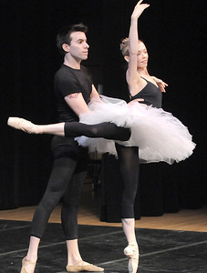 Company dancers Peter Doll and Julie King perform a modern traditional ballet dance for the audience during Ballet Nouveau Colorado's young person's guide to dance at the Auditorium on Satuday. March 24, 2012  staff photo/ David R. Jennings