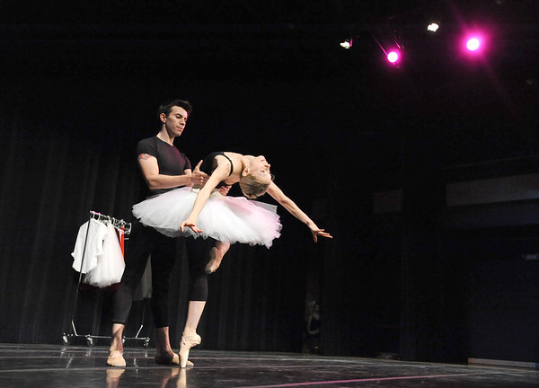 Company dancers Peter Doll and Julie King perform a modern traditional ballet dance for the audience during Ballet Nouveau Colorado's young person's guide to dance at the Auditorium on Satuday.<br /> March 24, 2012 <br /> staff photo/ David R. Jennings