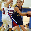 Jennifer Aicega, Legacy, tries to pass the ball  around Audrey Harriger and Anna Hubbell, Centaurus during Saturday's Boulder Valley Invitational tournament at Centaurus..<br /> <br /> December 8, 2012<br /> staff photo/ David R. Jennings