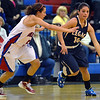 Legacy's Emiley Lopez dribbles the ball around  Centaurus' Shanlie Anderson during Saturday's Boulder Valley Invitational tournament at Centaurus..<br /> <br /> December 8, 2012<br /> staff photo/ David R. Jennings