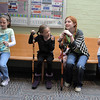 Brooklynn Kirkpatrick, left, Grace Nordgren, 10, Kendall Ritger, 11, and Janelle Campbell learn to use a cane for their parts during a rehearsal of the BackStory Theatre's Youth Theatre production of Bird Brains at the Broomfield Community Center on Saturday.<br /> October 29, 2011<br /> staff photo/ David R. Jennings