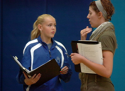 Katelyn Peters, 13, left, gets some pointers on how to play her character from assistant director Emily Andrews during a rehearsal of the BackStory Theatre's Youth Theatre production of Bird Brains at the Broomfield Community Center on Saturday. October 29, 2011 staff photo/ David R. Jennings