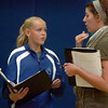 Katelyn Peters, 13, left, gets some pointers on how to play her character from assistant director Emily Andrews during a rehearsal of the BackStory Theatre's Youth Theatre production of Bird Brains at the Broomfield Community Center on Saturday.<br /> October 29, 2011<br /> staff photo/ David R. Jennings