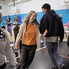 Eleanor Davis, 14, dances with Jeremy Sunderraj, 15, while Emily Alexander, 15, waits her turn during a rehearsal of the BackStory Theatre's Youth Theatre production of Bird Brains at the Broomfield Community Center on Saturday.<br /> October 29, 2011<br /> staff photo/ David R. Jennings