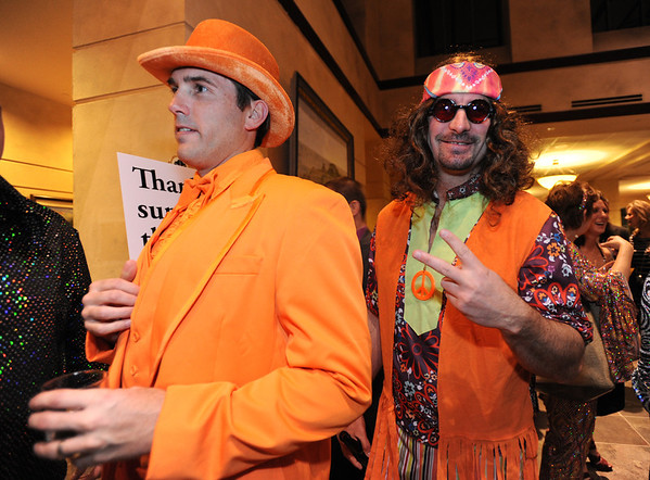 Beau Smith, left,  and Kale Gilmore attending the Bal Swan Ball, Saturday Night Fever, fundraiser at the Omni Interlocken Resort Hotel on Saturday.<br /> March 3, 2012 <br /> staff photo/ David R. Jennings