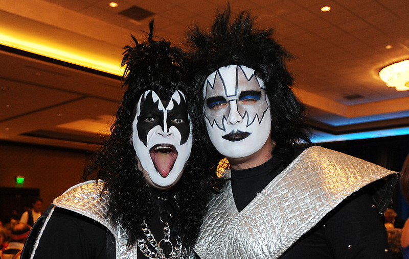 Jeremy Tuttle, left, and his brother Justin Tuttle dressed as memmbers of the band KISS  for the Bal Swan Ball, Saturday Night Fever, fundraiser at the Omni Interlocken Resort Hotel on Saturday.<br /> March 3, 2012 <br /> staff photo/ David R. Jennings