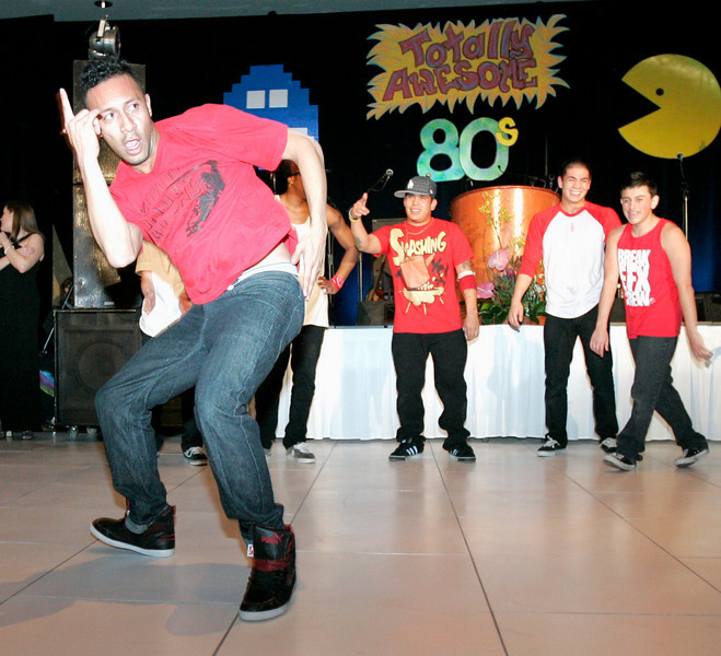 Members of BREAKFX break-dancing troupe preform at the Totally Awesome 80's Bal Swan Ball on Saturday night at the Omni Interlocken Hotel Ballroom. <br /> March 5, 2011<br />  photo/Matt Kelley