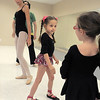"Sierrah Cummins, 6, center, works on her ballet positions with Riley Tuttle, 7, right, and ballet assistant Gabby Lozano, 12, during Ballet Nouveau Colorado's Ballet Expressions classes for the physically and mentally challenged students on Thursday at the BNC studios.<br /> For more photos please see  <a href=""http://www.broomfieldenterprise.com"">http://www.broomfieldenterprise.com</a>.<br /> January 12, 2012<br /> staff photo/ David R. Jennings"