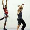 Damien Patterson, left, and Jason Franklin rehearse a dance choreographed by Alex Ketley for POP by Ballet Nouveau Colorado at the studio earlier this month.<br /> <br /> Sept. 5, 2009<br /> Staff photo/David R. Jennings