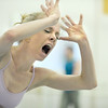 "Sarah Tallman screams during the dance  ""An Occasional Dream"" set to the music of David Bowie during rehearsal for Ballet Nouveau Colorado's Rock Ballets at the BNC studio on Thursday.<br /> <br /> March 29, 2012 <br /> staff photo/ David R. Jennings"