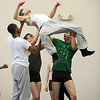"Colby Foss is lifted by Damien Patterson, Ben Delony and Corbin Kalinowski for the dance ""An Occasional Dream"" set to the music of David Bowie during rehearsal for Ballet Nouveau Colorado's Rock Ballets at the BNC studio on Thursday.<br /> March 29, 2012 <br /> staff photo/ David R. Jennings"