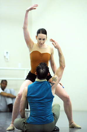 "Meredith Strathmeyer dances with Brandon Freeman to the music of Queen for the dance ""Love of My Life"" during rehearsal for Ballet Nouveau Colorado's Rock Ballets at the BNC studio on Thursday.<br /> March 29, 2012 <br /> staff photo/ David R. Jennings"