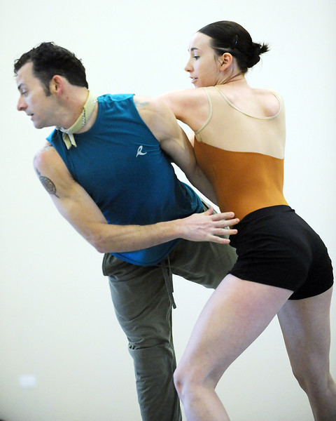 "Brandon Freeman and Meredith Strathmeyer perform a dance to the music of Queen for the dance ""Love of My Life"" during rehearsal for Ballet Nouveau Colorado's Rock Ballets at the BNC studio on Thursday.<br /> March 29, 2012 <br /> staff photo/ David R. Jennings"