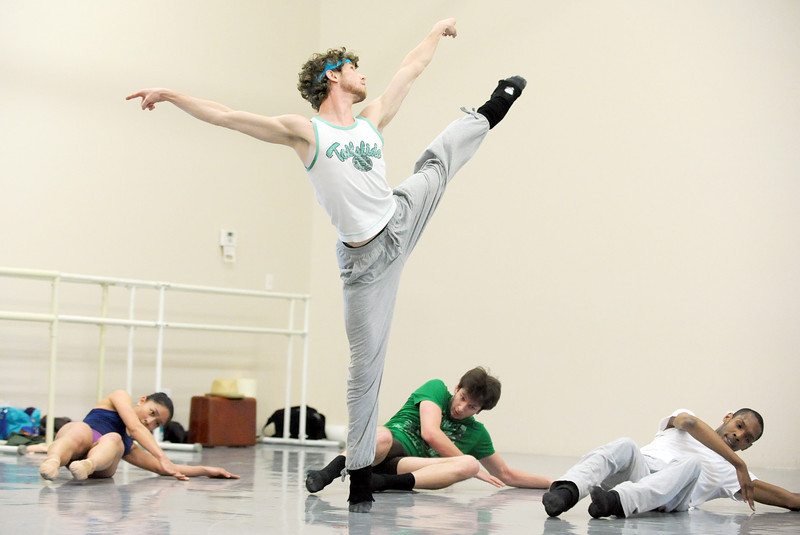 Colby Foss performs a dance to the music of David Bowie during rehearsal for Ballet Nouveau Colorado's Rock Ballets at the BNC studio on Thursday.<br /> March 29, 2012 <br /> staff photo/ David R. Jennings