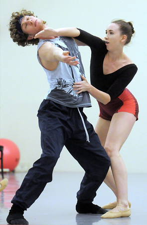 Colby Foss and Meredith Strathmeyer dance together during the rehearsal for the Rarities and Oddities performance at Ballet Nouveau Colorado on Thursday.<br /> <br /> March 31, 2011<br /> staff photo/David R. Jennings