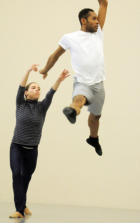 """Elizabeth Towles and Damien Patterson, Ballet Nouveau Colorado dancers, rehearse for the production of """"Carry On"""" at the BNC studios. The dance company will be performing to live music by Paper Bird.<br /> <br /> January 14, 2011<br /> staff photo/David R. Jennings"""