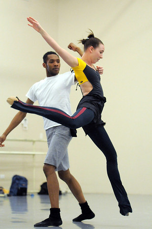 "Meredith Strathmeyer and Damien Patterson, Ballet Nouveau Colorado dancers, rehearse, at the BNC studios, for the production of ""Carry On"" which will be performed to live music of Paper Bird.<br /> <br /> January 14, 2011<br /> staff photo/David R. Jennings"