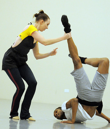 """Meredith Strathmeyer and Damien Patterson, Ballet Nouveau Colorado dancers, rehearse, at the BNC studios, for the production of """"Carry On"""" which will be performed to live music of Paper Bird.<br /> <br /> January 14, 2011<br /> staff photo/David R. Jennings"""