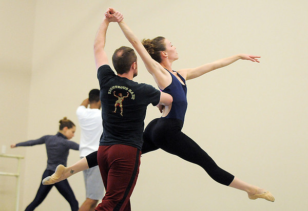 "Ballet Nouveau Colorado dancers Megan Coatney and David Barbour rehearse for the production of ""Carry On"" at the BNC studios.  The dance company will be performing to live music by Paper Bird.<br /> <br /> January 14, 2011<br /> staff photo/David R. Jennings"