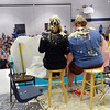 Mountain View Elementary School principal Tracey Amend, left, and assistant principal Shelley Stetler had banana split toppings poured on their heads by students during an assembly at the school on Friday. <br /> <br /> November 30, 2012<br /> staff photo/ David R. Jennings