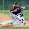 Greg Reynolds, Silver Creek, tags out Hayden Estes, Broomfield, during Thursday's game at Broomfield High School.<br /> <br /> May 03, 2012 <br /> staff photo/ David R. Jennings