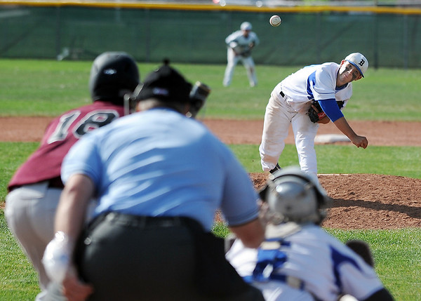 Brandon Bradley, Broomfield, pitches against Garrett Howard, Silver Creek, during Thursday's game at Broomfield High School.<br /> <br /> May 03, 2012 <br /> staff photo/ David R. Jennings