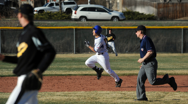 Broomfield's Dylan Rouco runs to second base during Thursday's game against Thompson Valley at Broomfield.<br /> March 22, 2012 <br /> staff photo/ David R. Jennings