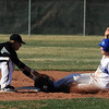 Broomfield's Angelo Perez slides to 2nd base against Thompson Valley's Kyle Kelly during Thursday's game at Broomfield.<br /> March 22, 2012 <br /> staff photo/ David R. Jennings