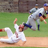 Holy Family's Devlin Granberg throws to first base after forcing out Faith Christian's Colby Smith  at second base during Saturday's game at Faith Christian.<br /> <br /> April 14, 2012 <br /> staff photo/ David R. Jennings
