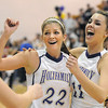 Holy Family's StephanieGiltner and Taylor Helbig celebrate after defeating Broomfield during Saturday's cross town game at Holy Family.<br /> <br /> January 29, 2011<br /> staff photo/David R. Jennings