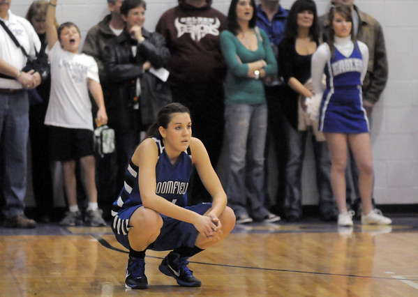 Katie Nehf, Broomfield reacts after being defeated by Holy Family in Saturday's cross town game at Holy Family.<br /> <br /> January 29, 2011<br /> staff photo/David R. Jennings
