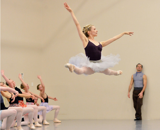 Julie King leaps while performing the Snow Queen dance during rehearsal for Ballet Nouveau Colorado's production of the Nutcracker on Saturday at the studio.<br /> <br /> December 1, 2012<br /> staff photo/ David R. Jennings