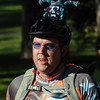 Mario Lurig wears a yarn monster on his helmet for his commute from Broomfield to Boulder during Bike To Work Day at East Park on Wednesday.<br /> <br /> June 22, 2011<br /> staff photo/David R. Jennings