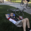 Christian Cadieux rests to digest his breakfast at East Park during Bike To Work Day on Wednesday.<br /> <br /> June 22, 2011<br /> staff photo/David R. Jennings