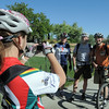 Teri Blackstock, left, takes a picture of Don Culver, Mark Culver, and Ivan Sichkar during Bike To Work Day at East Park on Wednesday.<br /> <br /> June 22, 2011<br /> staff photo/David R. Jennings