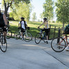 Bicycle commuters travel in different directions at the junction of paths at East Park during Bike To Work Day on Wednesday.<br /> <br /> June 22, 2011<br /> staff photo/David R. Jennings